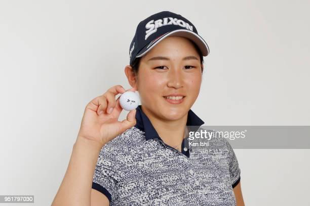 Miyu Shinkai poses for photographs during the Japanese LPGA portrait session on February 27 2018 in Nanjo Okinawa Japan