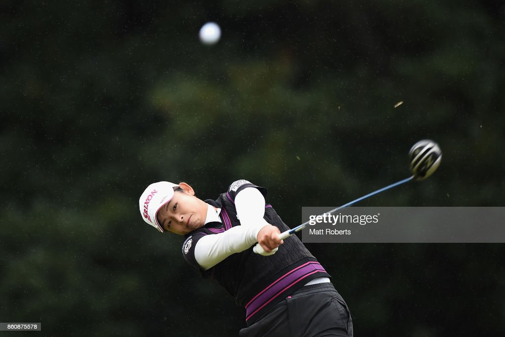 Miyu Yamato of Japan hits her tee shot on the 3rd hole during the first round of the Fujitsu Ladies 2017 at the Tokyu Seven Hundred Club on October 13, 2017 in Chiba, Japan.