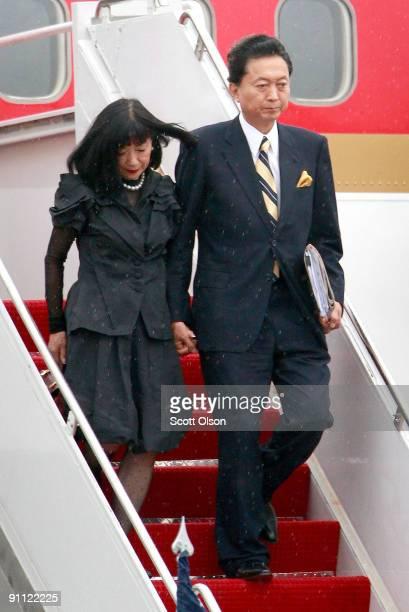 Miyuki Hatoyama and Prime Minister Yukio Hatoyama of Japan arrive for the G20 Pittsburgh Summit at the Pittsburgh International Airport September 24...