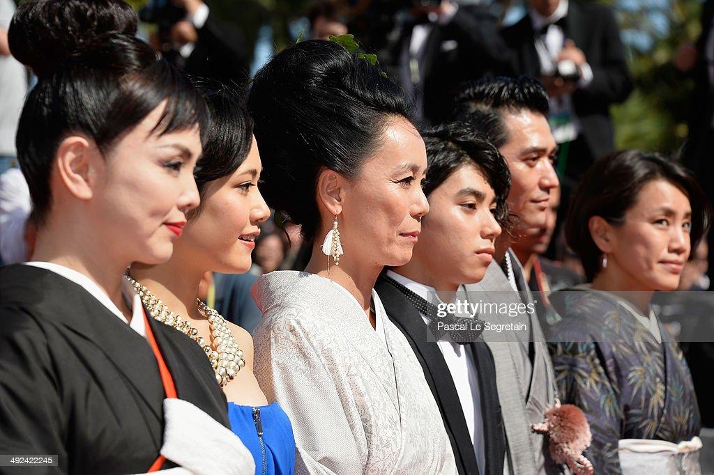 Miyuki Matsuda, Jun Yoshinaga, Naomi Kawase, Nijiro Murakami, Jun Murakami and Makiko Watanabe attends the 'Futatsume No Mado' premiere during the 67th Annual Cannes Film Festival on May 20, 2014 in Cannes, France.