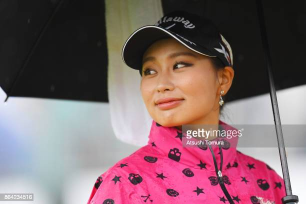 Miyuki Takeuchi of Japan looks on during the third round of the Nobuta Group Masters GC Ladies at the Masters Golf Club on October 21 2017 in Miki...
