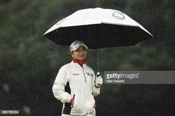 Miyuki Takeuchi of Japan smiles during the first round of the Fujitsu Ladies 2017 at the Tokyu Seven Hundred Club on October 13 2017 in Chiba Japan