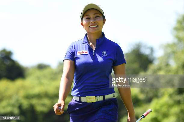 Miyuki Takeuchi of Japan smiles during the first round of the Samantha Thavasa Girls Collection Ladies Tournament at the Eagle Point Golf Club on...