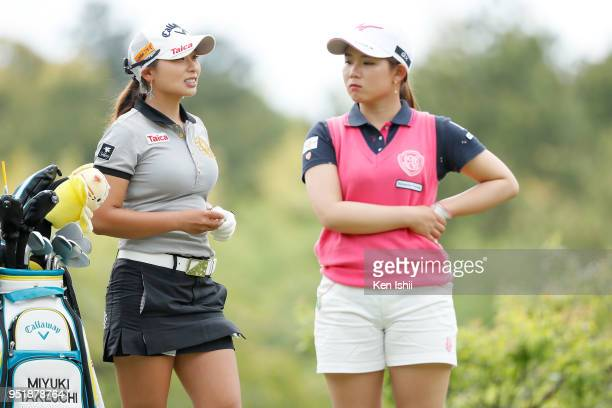 Miyuki Takeuchi of Japan talks during the first round of the CyberAgent Ladies Golf Tournament at Grand fields Country Club on April 27 2018 in...