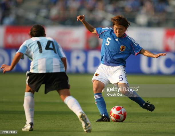 Miyuki Yanagita of Japan in action during the women's international friendly soccer match between Japan and Argentina at the National Stadium on July...