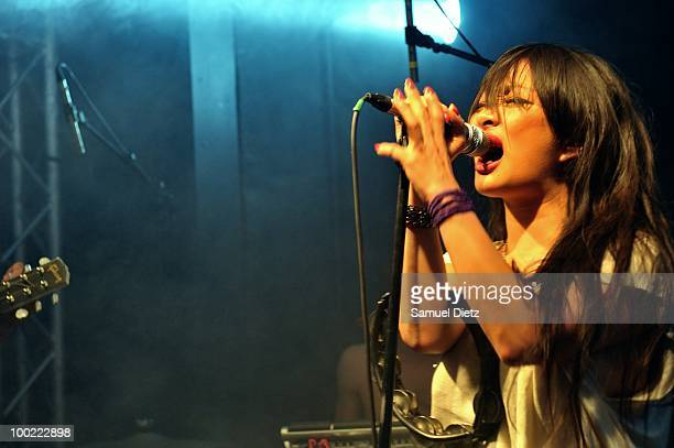 MiYung Park lead singer of My Park performs live at La Fleche d'Or on May 21 2010 in Paris France