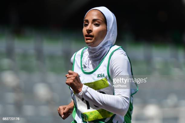 Miznah Alnassar of Saudi Arabia in action in Women's 800m Qualification race 1 during day five of Baku 2017 4th Islamic Solidarity Games at at Baku...