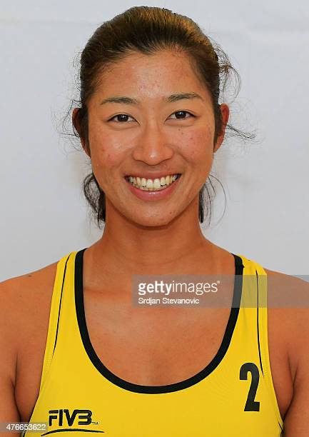 Mizoe Sayaka of Japan poses for a portrait during the FIVB Prague Open Headshot Shoot on May 20 2015 in Prague Czech Republic