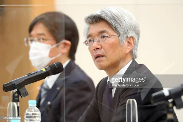 Mizuho Bank President Koji Fujiwara attends a press conference over a system failure on weekend on March 1, 2021 in Tokyo, Japan.