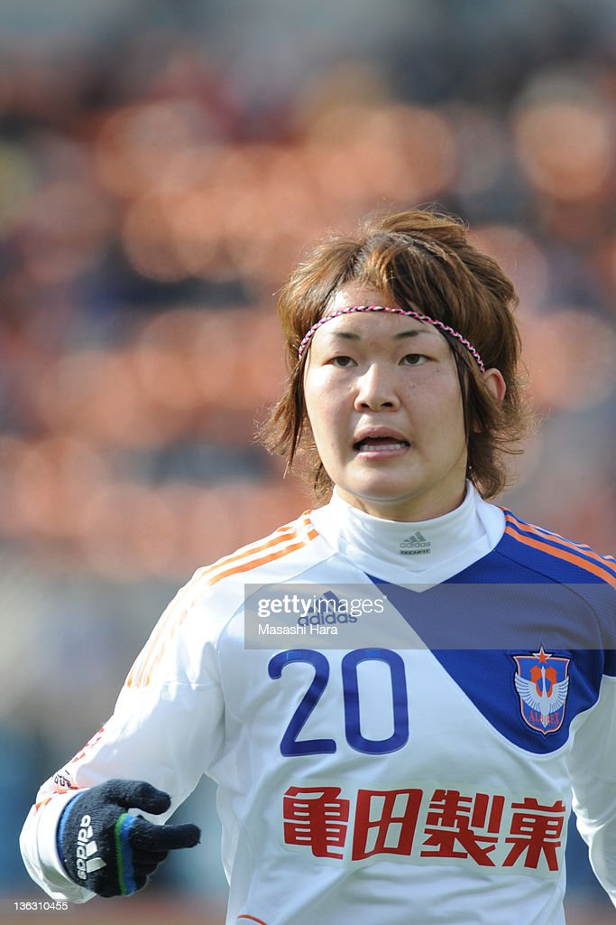 Mizuho Sakaguchi #20 of Albirex Nigata Ladies looks on during the All Japan Women's Soccer Championship Final match between Albirex Niigata Ladies and INAC Kobe Leonessa at the National Stadium on January 1, 2012 in Tokyo, Japan.