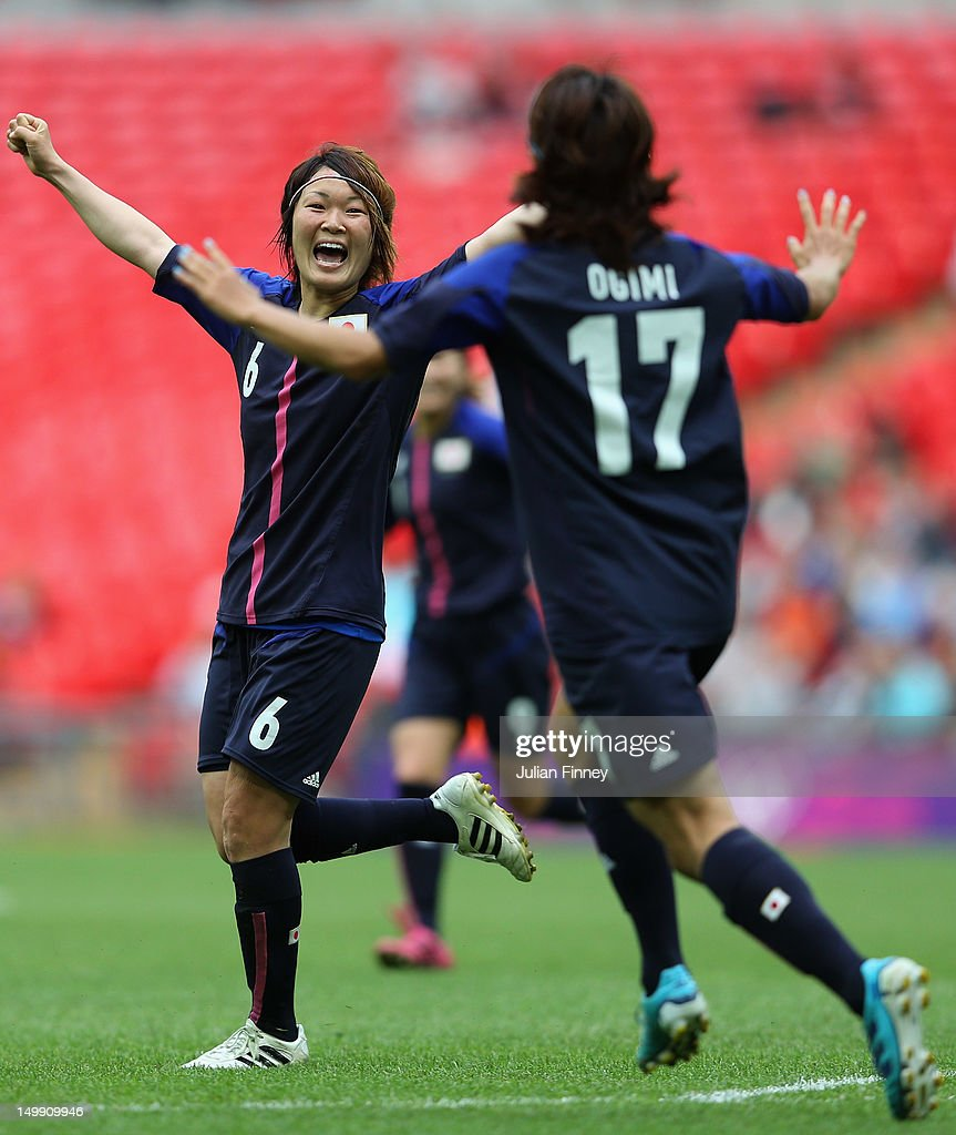 Mizuho Sakaguchi of Japan celebrates scoring the second goal during the Women's Football Semi Final match between France and Japan on Day 10 of the London 2012 Olympic Games at Wembley Stadium on August 6, 2012 in London, England.