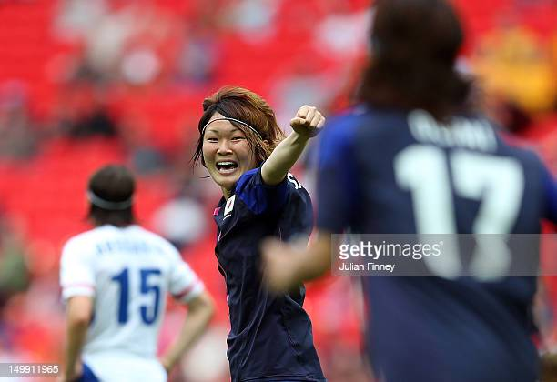 Mizuho Sakaguchi of Japan celebrates scoring the second goal during the Women's Football Semi Final match between France and Japan on Day 10 of the...