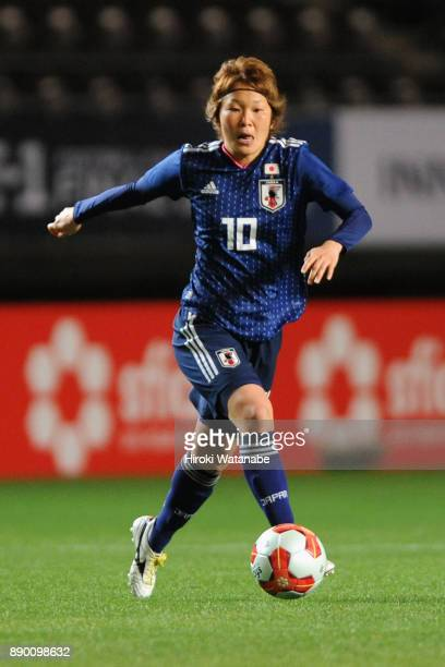 Mizuho Sakaguchi of Japan in action during the EAFF E1 Women's Football Championship between Japan and China at Fukuda Denshi Arena on December 11...