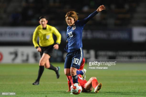 Mizuho Sakaguchi of Japan in action during the EAFF E1 Women's Football Championship between Japan and North Korea at Fukuda Denshi Arena on December...