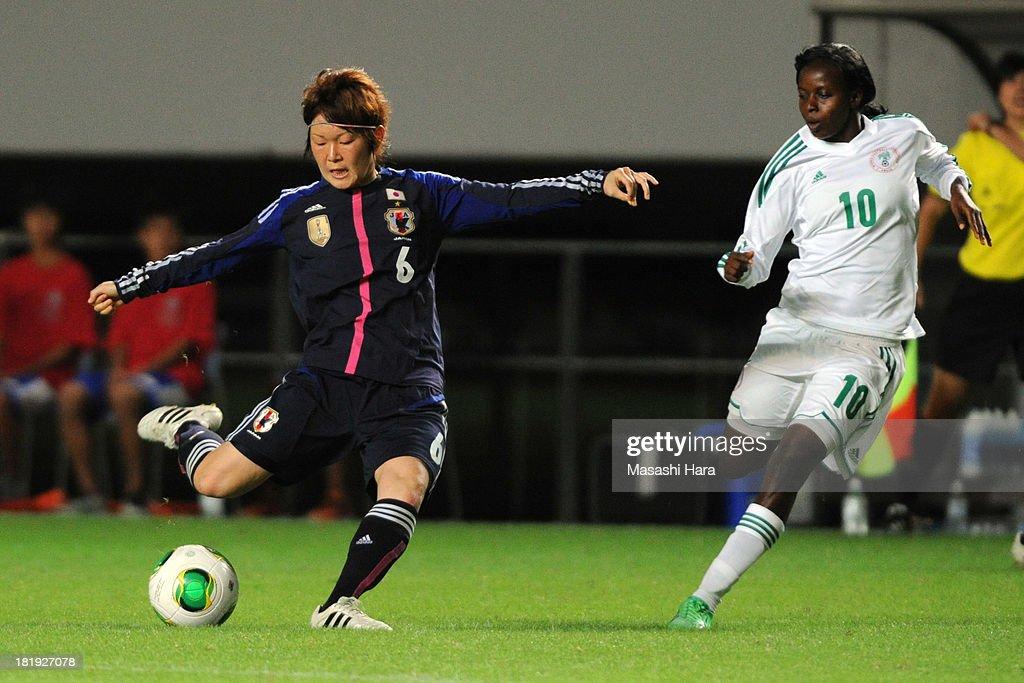 Mizuho Sakaguchi #6 of Japan in action during the Women's international friendly match between Japan and Nigeria at Fukuda Denshi Arena on September 26, 2013 in Chiba, Japan.