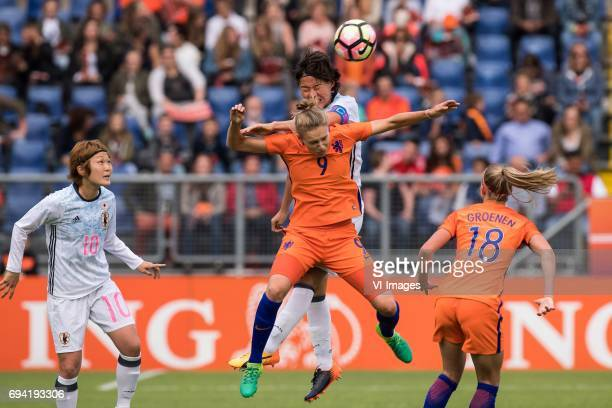 Mizuho Sakaguchi of Japan Saki Kumagai of Japan Vivianne Miedema of the Netherlands Jacky Groenen of the Netherlandsduring the friendly match between...