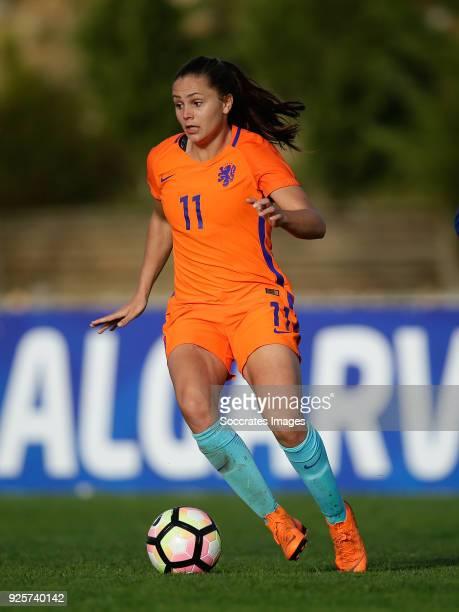Mizuho Sakaguchi of Japan Women Lieke Martens of Holland Women during the Algarve Cup Women match between Japan v Holland at the Estadio Municipal da...