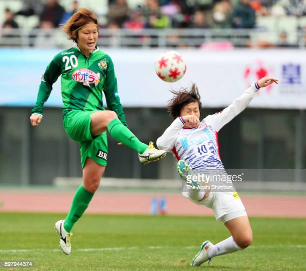 Mizuho Sakaguchi of NTV Beleza scores her side's second goal during the 39th Empress' Cup All Japan Football Tournament Final between NTV Beleza and...
