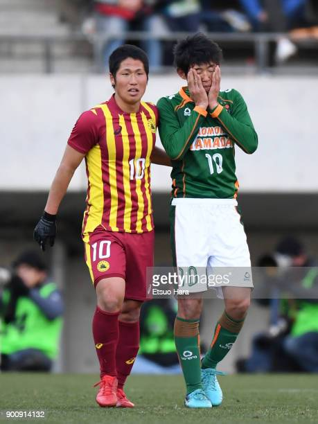 Mizuki Ando of Nagasaki Institute of Applied Science and Yuta Goke of Aomori Yamada are seen after the 96th All Japan High School Soccer Tournament...