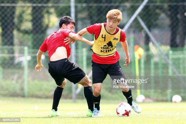 Mizuki Ichimaru of Japan with teammate inaction during a training session ahead of the FIFA U20 World Cup Korea Republic 2017 group D match against...
