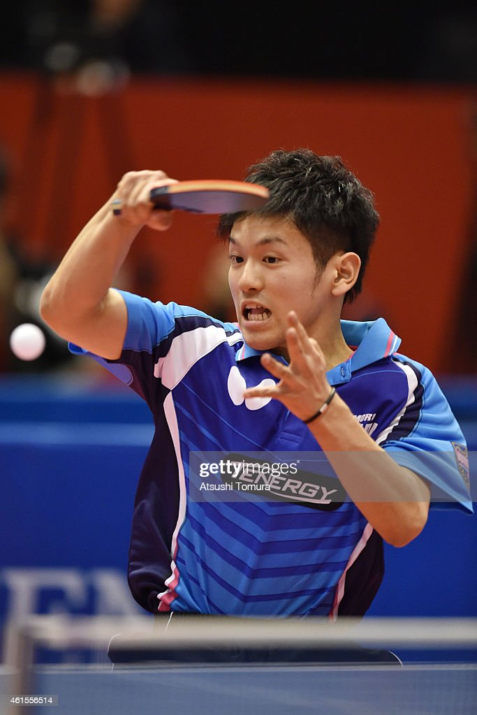 Mizuki Oikawa of Japan competes against Kohei Sanbe of Japan in the Men's Junior Singles final during the day four of All Japan Table Tennis Championships 2015 at Tokyo Metropolitan Gymnasium on January 15, 2015 in Tokyo, Japan.