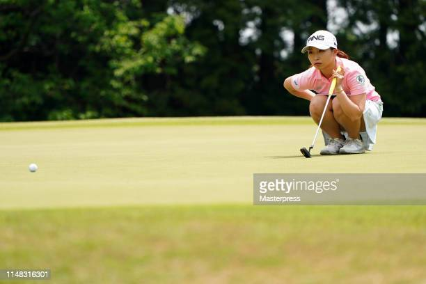 Mizuki Ooide of Japan lines up for a putt on the 4th green during the third round of the World Ladies Championship Salonpas Cup at Ibaraki Golf Club...