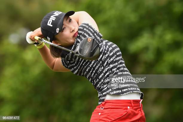 Mizuki Ooide of Japan plays her tee shot on the 2nd hole during the first round of the World Ladies Championship Salonpas Cup at Ibaraki Golf Course...