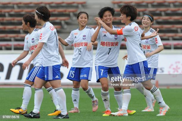 Mizuki Sonoda of Albirex Niigata Ladies celebrates scoring her team's third goal during the Nadeshiko Cup match between Urawa Red Diamonds Ladies and...