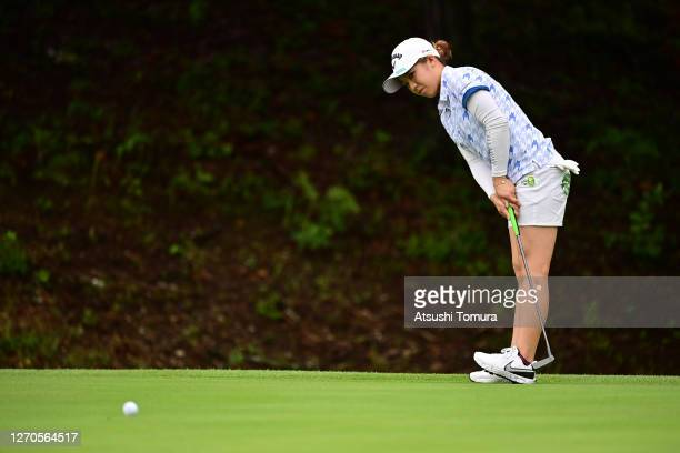 Mizuki Tanaka of Japan attempts a putt on the 6th green during the first round of the GOLF5 Ladies Tournament at the GOLF5 Country Mizunami Course on...