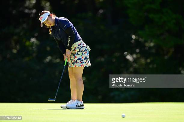 Mizuki Tanaka of Japan attempts a putt on the 9th green during the second round of the GOLF5 Ladies Tournament at the GOLF5 Country Mizunami Course...