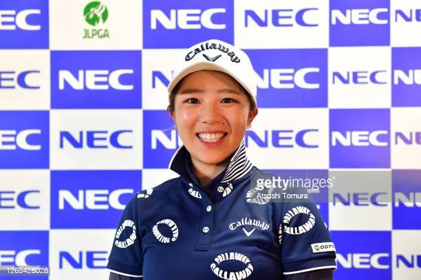 Mizuki Tanaka of Japan attends an online press conference following a practice round ahead of the NEC Karuizawa 72 Golf Tournament at the Karuizawa...