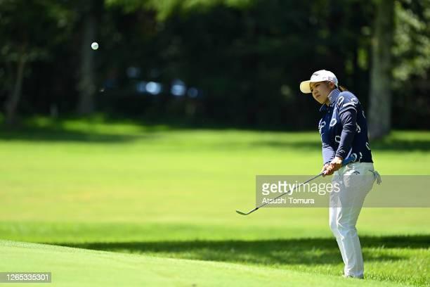 Mizuki Tanaka of Japan chips onto the 4th green during a practice round ahead of the NEC Karuizawa 72 Golf Tournament at the Karuizawa 72 Golf Kita...