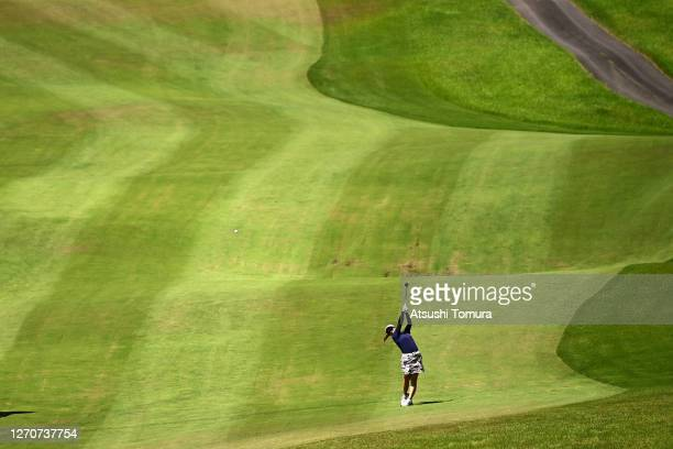 Mizuki Tanaka of Japan hits her second shot on the 10th hole during the second round of the GOLF5 Ladies Tournament at the GOLF5 Country Mizunami...