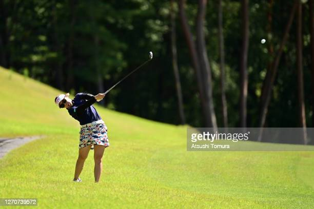 Mizuki Tanaka of Japan hits her second shot on the 11th hole during the second round of the GOLF5 Ladies Tournament at the GOLF5 Country Mizunami...