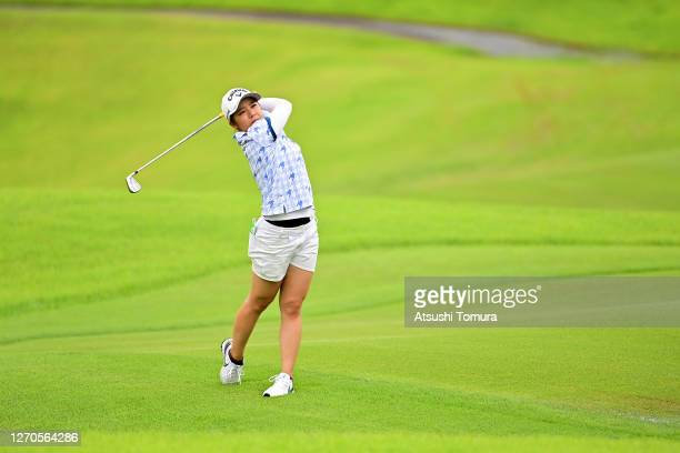 Mizuki Tanaka of Japan hits her second shot on the 6th hole during the first round of the GOLF5 Ladies Tournament at the GOLF5 Country Mizunami...