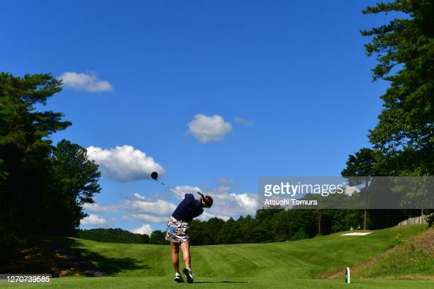 Mizuki Tanaka of Japan hits her tee shot on the 11th hole during the second round of the GOLF5 Ladies Tournament at the GOLF5 Country Mizunami Course...