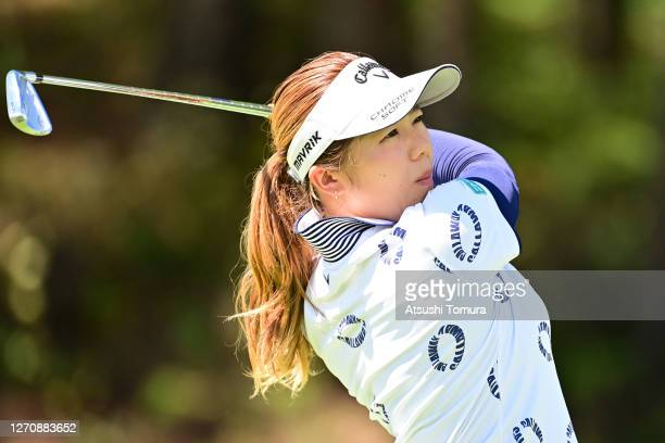 Mizuki Tanaka of Japan hits her tee shot on the 15th hole during the final round of the GOLF5 Ladies Tournament at the GOLF5 Country Mizunami Course...