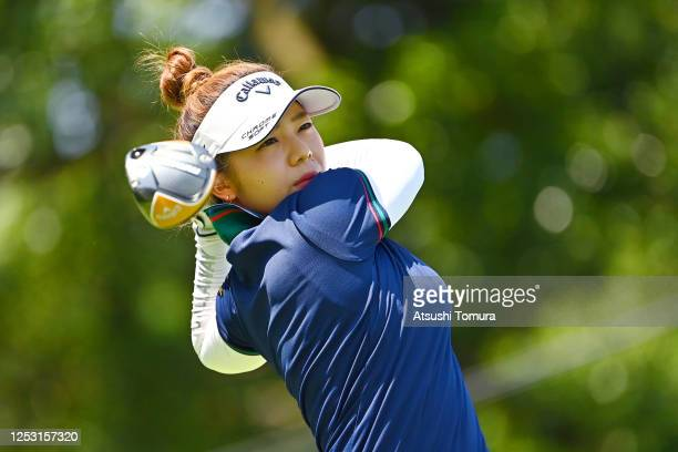 Mizuki Tanaka of Japan hits her tee shot on the 1st hole during the final round of the Earth Mondamin Cup at the Camellia Hills Country Club on June...