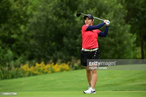 Mizuki Tanaka of Japan hits her tee shot on the 2nd hole during the third round of the Nitori Ladies Golf Tournament at the Otaru Country Club on...