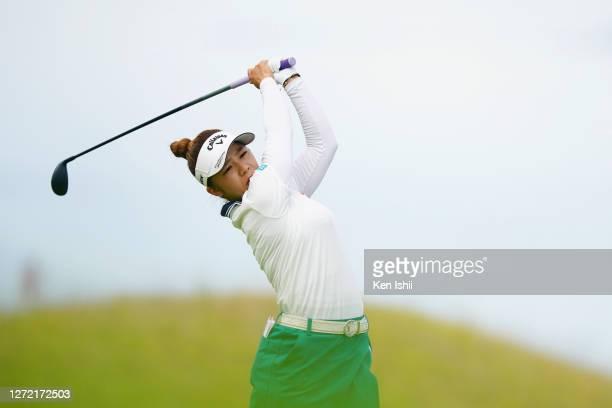 Mizuki Tanaka of Japan hits her tee shot on the 3rd hole during the final round of the JLPGA Championship Konica Minolta Cup at the JFE Setonaikai...