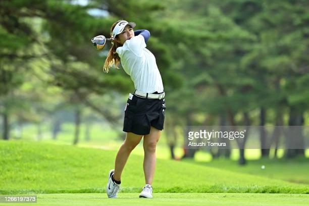 Mizuki Tanaka of Japan hits her tee shot on the 4th hole during the first round of the NEC Karuizawa 72 Golf Tournament at the Karuizawa 72 Golf Kita...