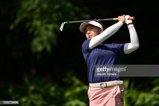 Mizuki Tanaka of Japan hits her tee shot on the 4th hole during the second round of the Nitori Ladies Golf Tournament at the Otaru Country Club on...