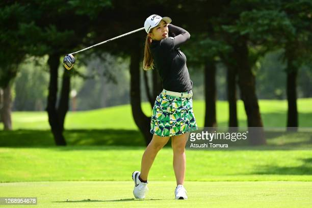 Mizuki Tanaka of Japan hits her tee shot on the 6th hole during the first round of the Nitori Ladies Golf Tournament at the Otaru Country Club on...