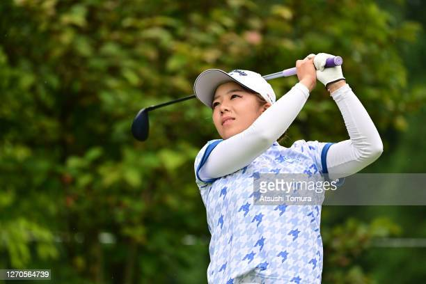 Mizuki Tanaka of Japan hits her tee shot on the 7th hole during the first round of the GOLF5 Ladies Tournament at the GOLF5 Country Mizunami Course...