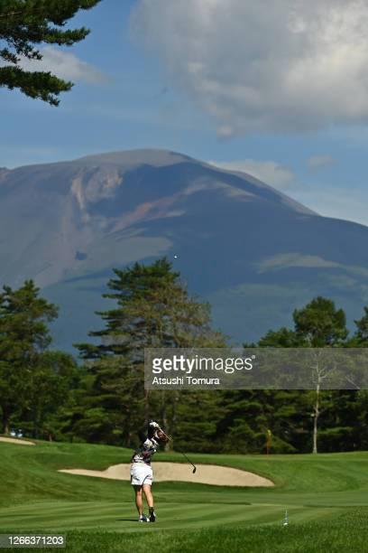 Mizuki Tanaka of Japan hits her tee shot on the 8th hole during the second round of the NEC Karuizawa 72 Golf Tournament at the Karuizawa 72 Golf...