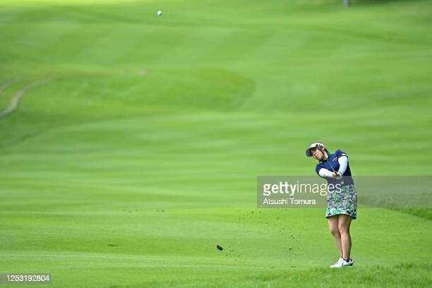 Mizuki Tanaka of Japan hits her third shot on the 18th hole during the final round of the Earth Mondamin Cup at the Camellia Hills Country Club on...