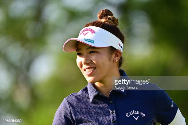 Mizuki Tanaka of Japan is seen after holing out on the 18th hole during the second round of the Nitori Ladies Golf Tournament at the Otaru Country...