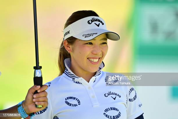 Mizuki Tanaka of Japan is seen on the 15th tee during the final round of the GOLF5 Ladies Tournament at the GOLF5 Country Mizunami Course on...
