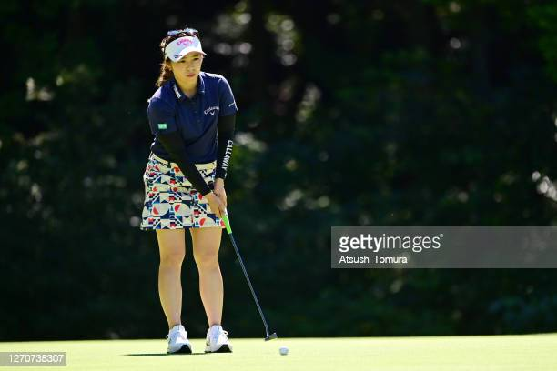 Mizuki Tanaka of Japan lines up a putt on the 9th green during the second round of the GOLF5 Ladies Tournament at the GOLF5 Country Mizunami Course...