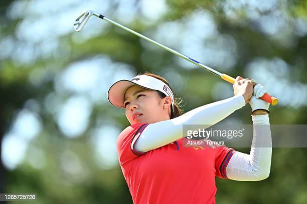 Mizuki Tanaka of Japan plays a shot on the 12th hole during a practice round ahead of the NEC Karuizawa 72 Golf Tournament at the Karuizawa 72 Golf...